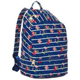 Mark & Hall Navy Floral Stripe Nylon Backpack, , large