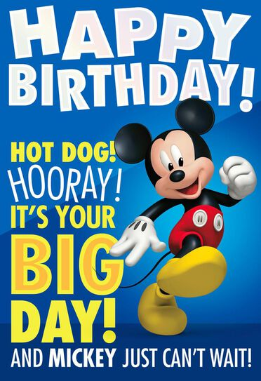 Mickey Mouse Big Day Birthday Card With Stickers