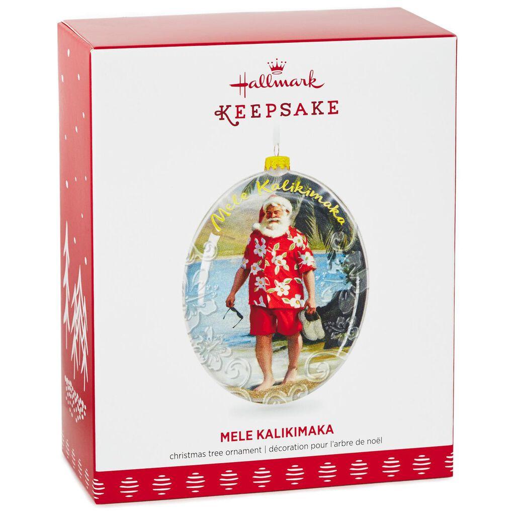 Mele Kalikimaka Hawaii Santa on the Beach Glass Ornament - Keepsake ...