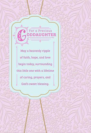 Pink Banner Goddaughter Baptism Card
