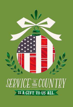 Patriotic Ornament Christmas Card for Veteran