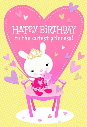 Cutest Princess Birthday Card for Daughter