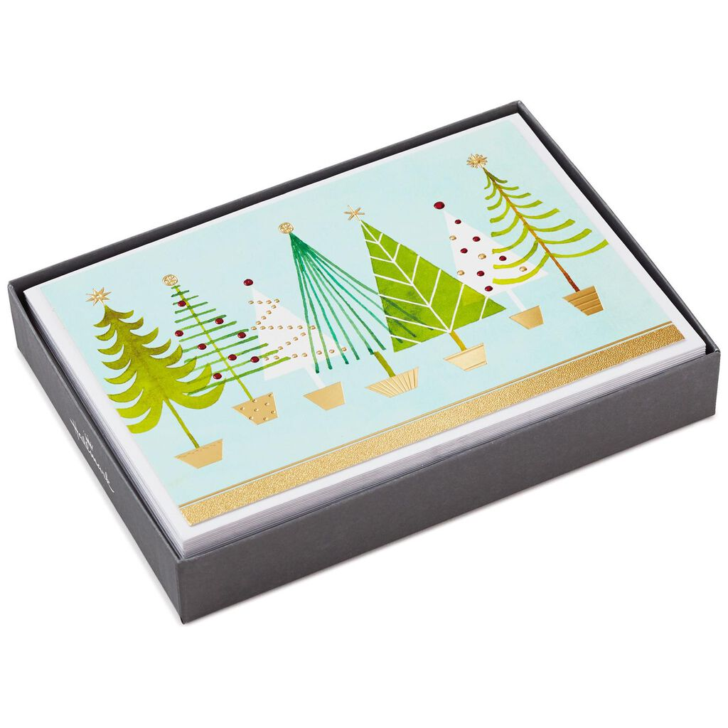 Modern Christmas Trees Christmas Cards, Box of 16 - Boxed Cards ...
