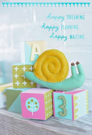 Snail on Baby Blocks, Mother's Day Card-to-Be