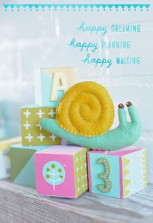 Snail on Baby Blocks, Mother's Day Card-to-Be,