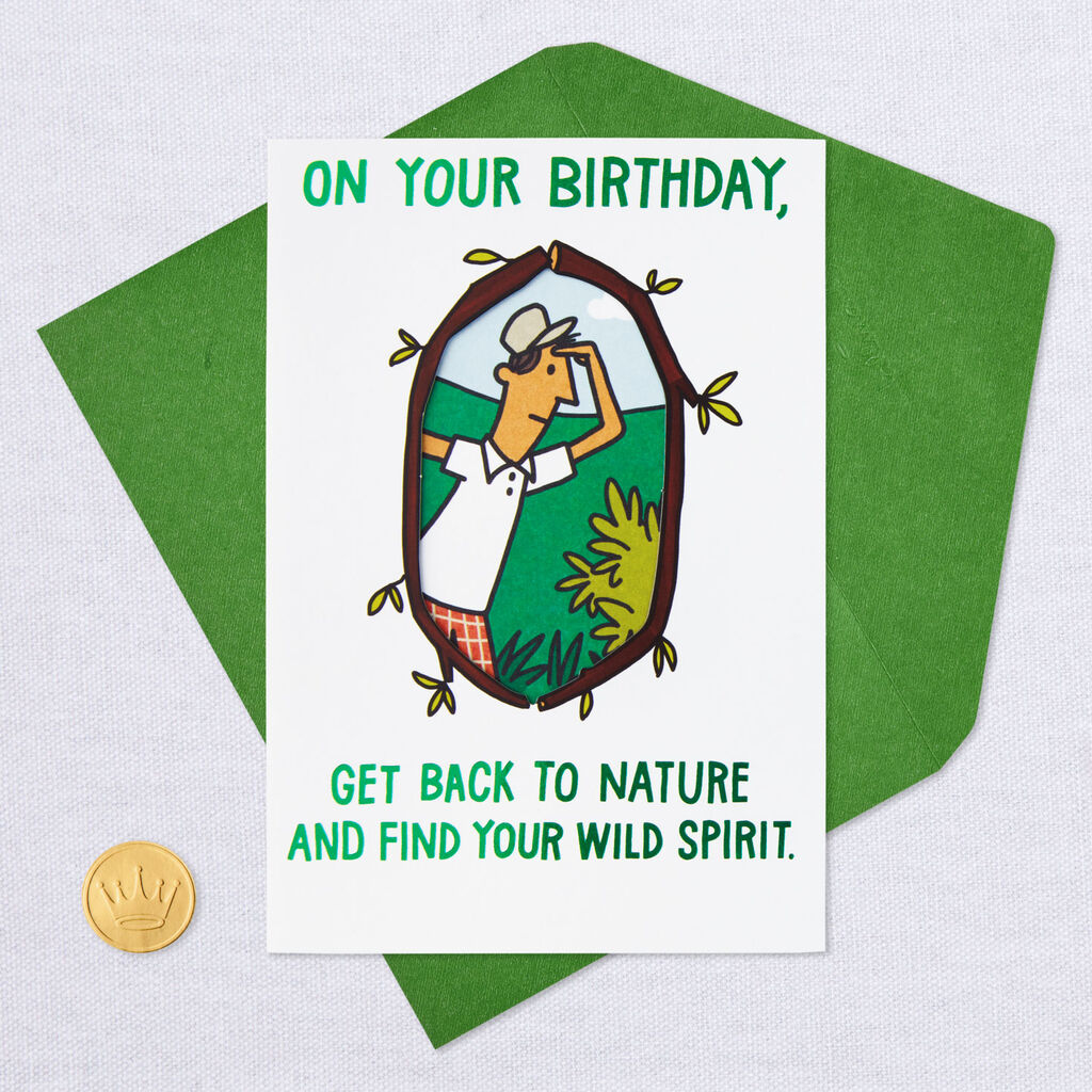 Get Back To Nature Golf Funny Birthday Card