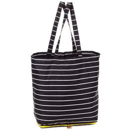 Mark & Hall Black and White Stripe Collapsible Nylon Tote, , large