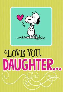 Snoopy Hug for Daughter Birthday Card,