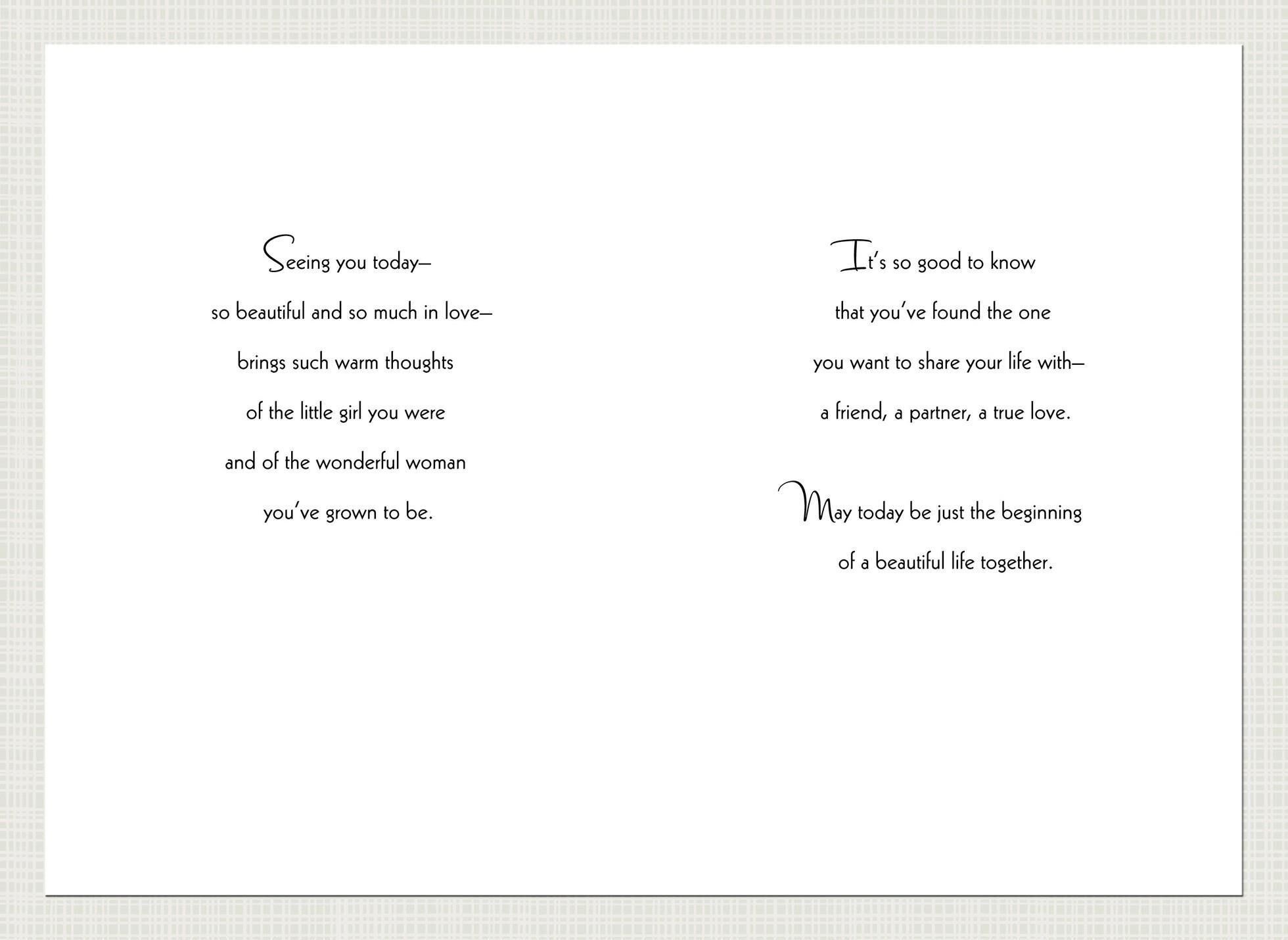 Perfect Daughter On Your Wedding Day Card,