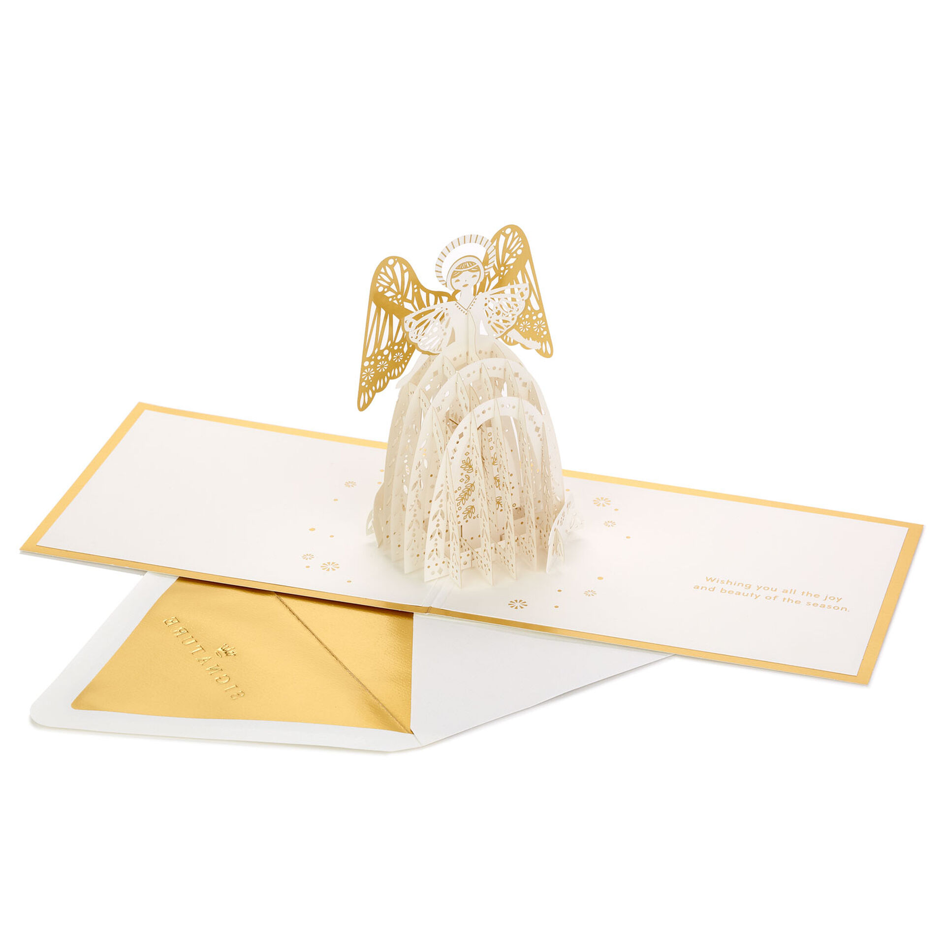 3D Invitation Cards with Envelope Confirmation Communion Christening Angel N.3