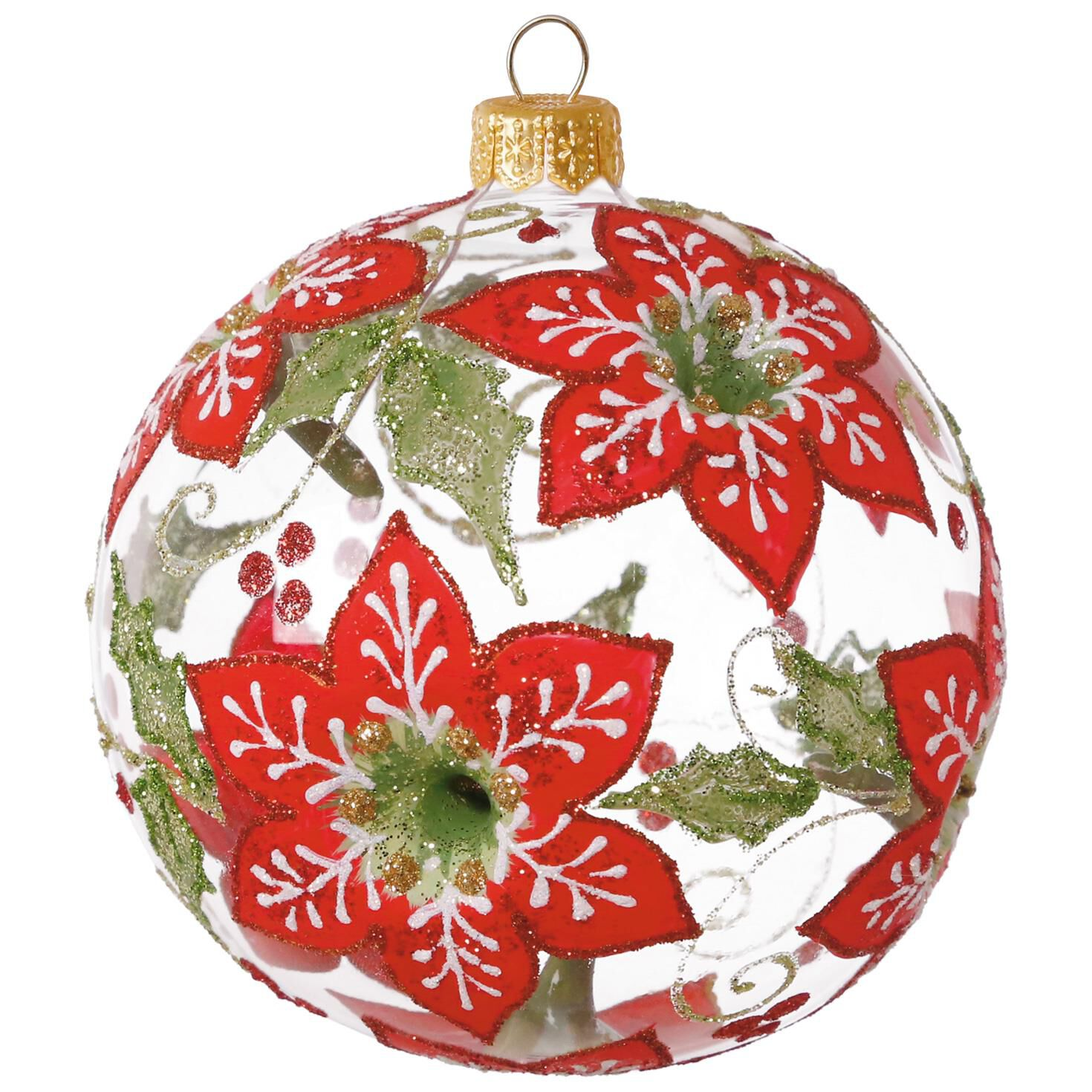Clear Floral Ball Blown Glass Ornament Specialty Ornaments Hallmark