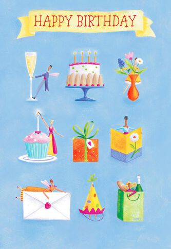 Whimsical Icons Sprinkled With Magic Birthday Card Greeting Cards