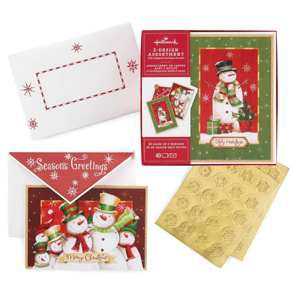 Snowman Family and Snowman 2-Pack Boxed Christmas Cards With Seals ...