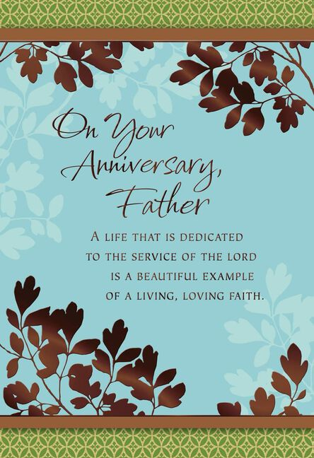 leafy branches anniversary card for priest - Anniversary Cards