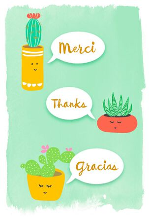Merci Thanks Gracias Thank You Card
