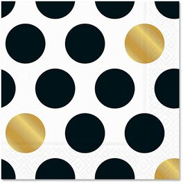 Kenzie Black & Gold Dot Lunch Napkins, Pack of 12, , large