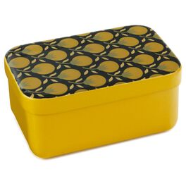 Yellow Decorative Lidded Metal Nesting Box, Small, , large