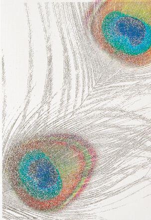 Metallic Peacock Feathers Blank Card