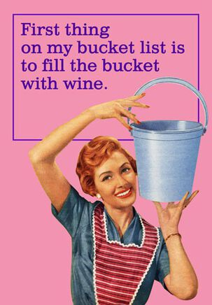 Wine-Filled Bucket List Funny Birthday Card