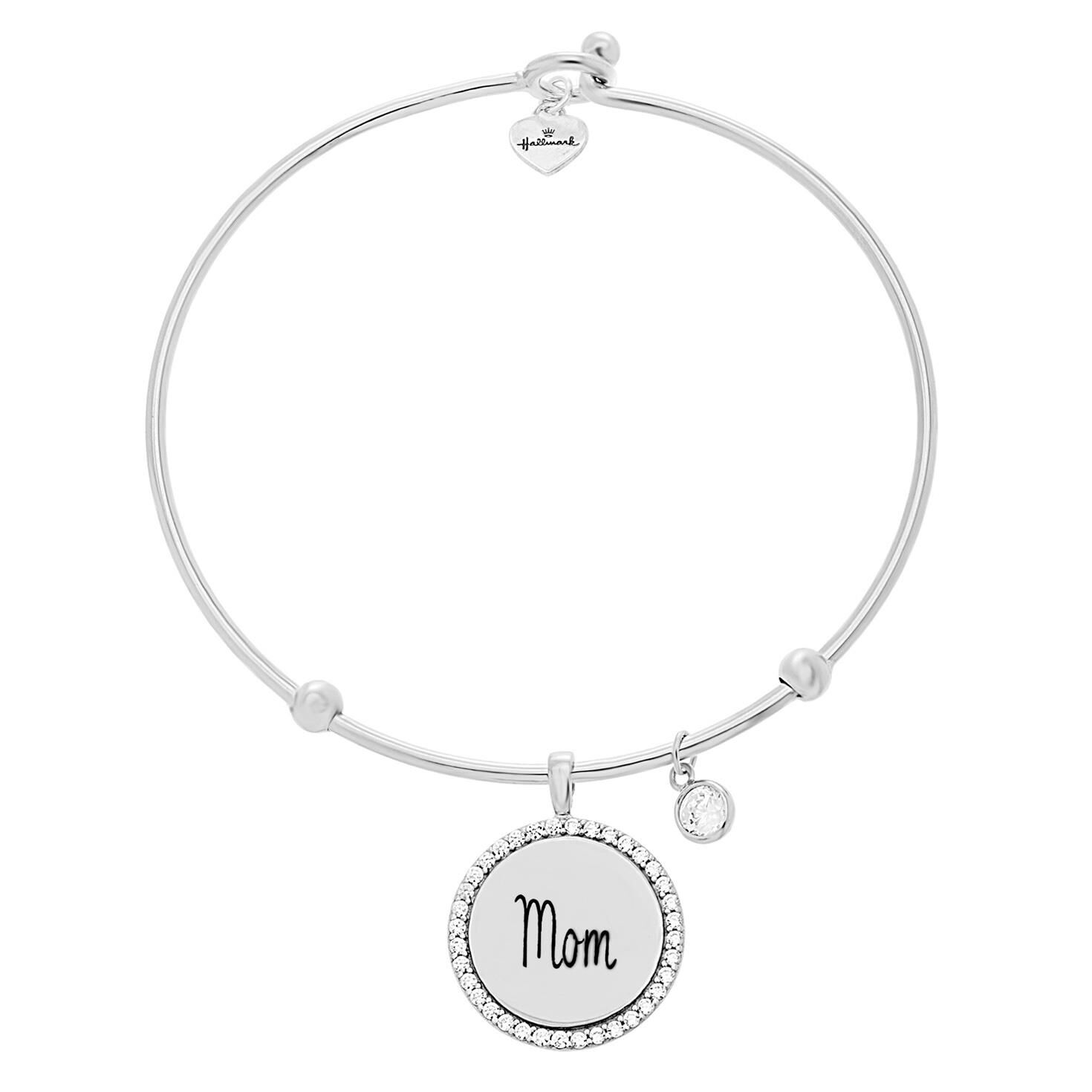"Engraved ""Mom"" Bangle Bracelet in Sterling Silver Jewelry Hallmark"