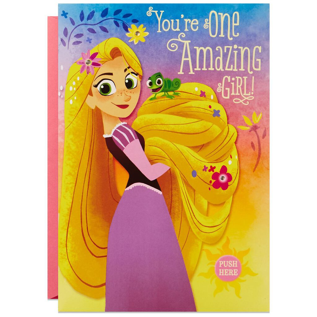 Disney Tangled Rapunzel Style Musical Birthday Card With Light
