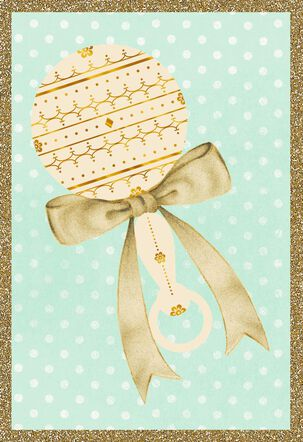 Vintage Rattle and Ribbon Blank Baby Congratulations Card