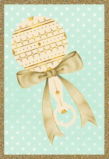 Vintage Rattle and Ribbon Blank Baby Congratulations Card,