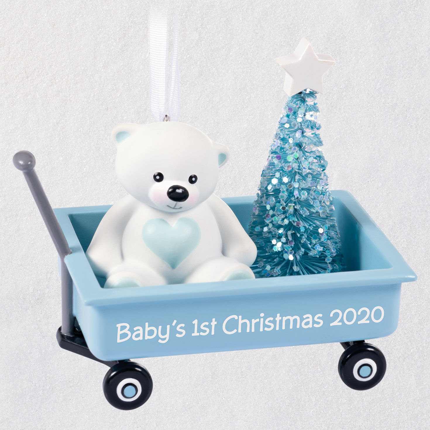 Grandsons First Christmas Ornament 2020 Baby Boy's First Christmas Blue Wagon 2020 Ornament   Keepsake