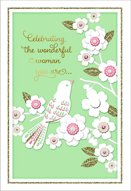 Bird And Blooms Birthday Card For Her