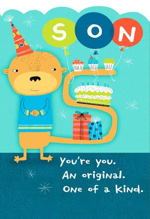 Lighthearted Monkey and Cake Birthday Card for Son