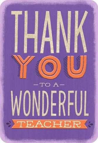 For a wonderful teacher thank you card greeting cards hallmark for a wonderful teacher thank you card m4hsunfo