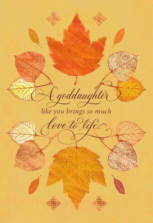 Fall Leaves Thanksgiving Card for Goddaughter