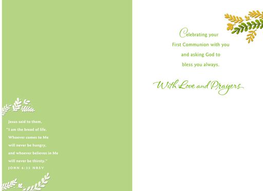 chalice and wreath of leaves first communion card for boy