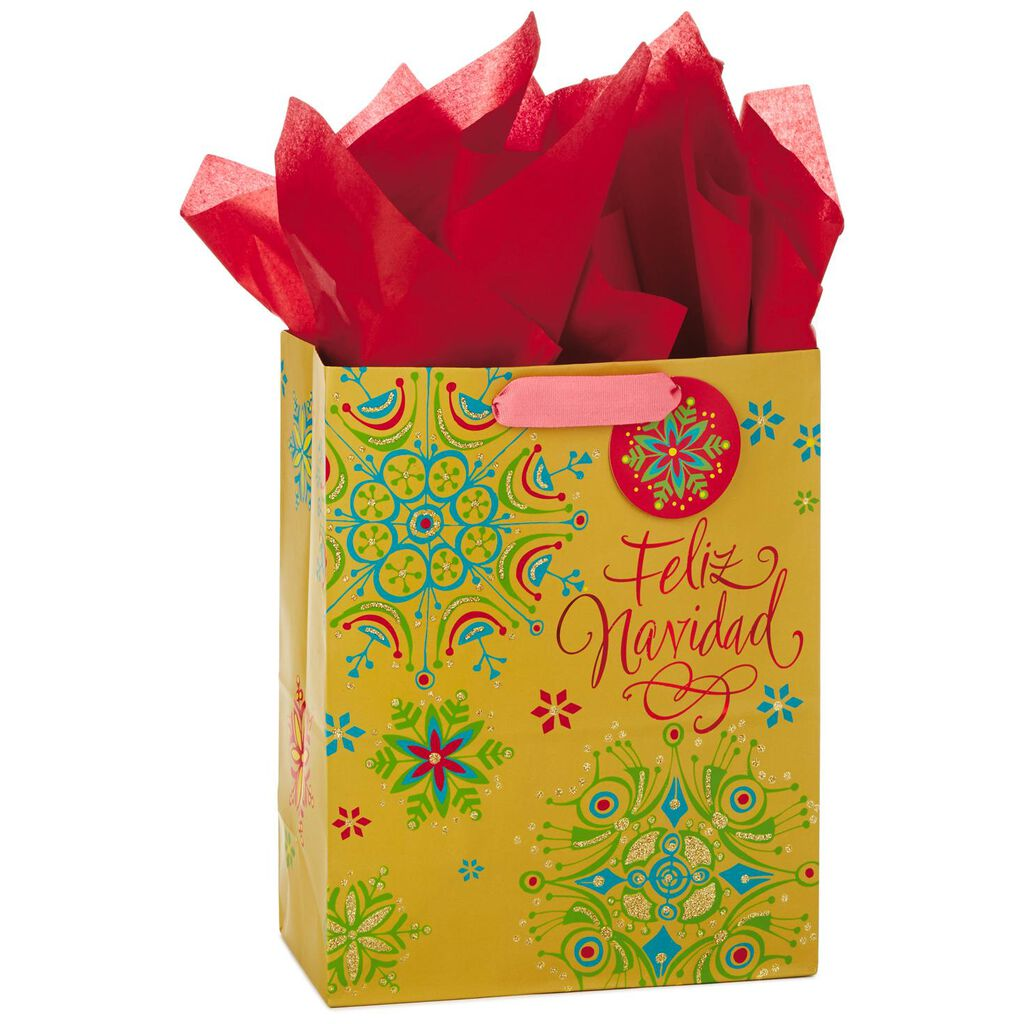 feliz navidad spanish language large christmas gift bag with tissue paper