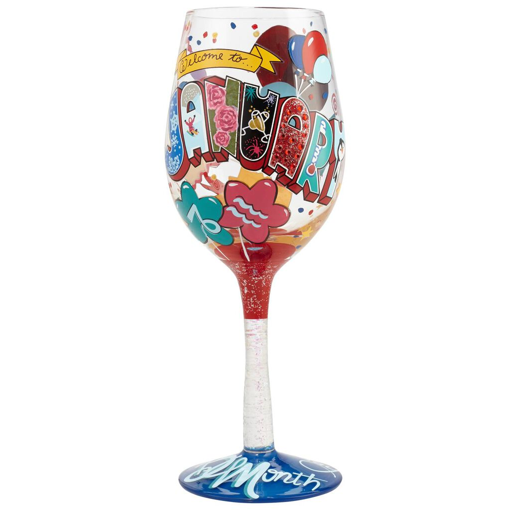 LolitaR January Birthday Balloons Hand Painted Wine Glass 15 Oz