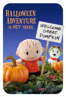 Peanuts® Linus and Snoopy itty bittys® Great Pumpkin Halloween Card,