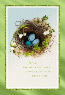Flower Ring Nest With Eggs Easter Card,