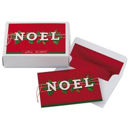 NOEL With Holly Leaves on Red Background Boxed Christmas Cards, , large