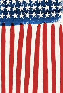Watercolor Stars and Stripes Veterans Day Blank Card,
