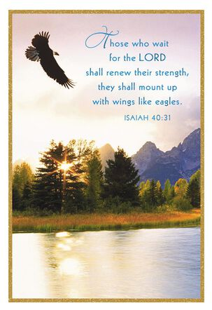 God Lifts You Up Eagle in Flight Religious Encouragement Card