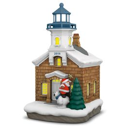 Holiday Lighthouse Ornament With Light, , large