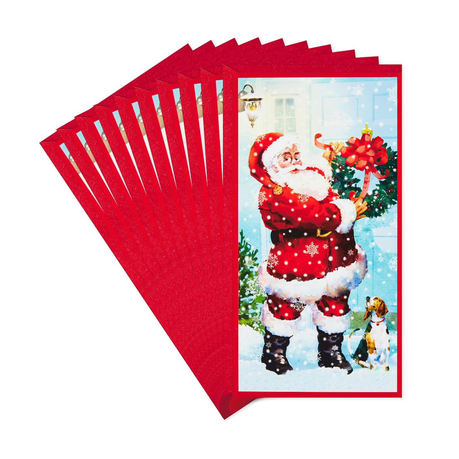 3 Bright Money Treat Gift Card Holders Santa Christmas Holiday New 4 x 2 x 1