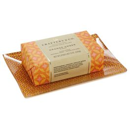 Crafters & Co. Orange Amber Bar Soap With Soap Dish Set, , large