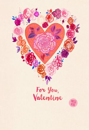 Floral Heart Musical Valentine's Day Card