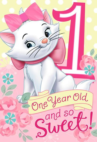 Aristocats 1st birthday card with wearable hair bow greeting aristocats 1st birthday card with wearable hair bow bookmarktalkfo Choice Image