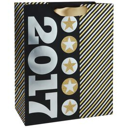 "Metallic Silver 2017 on Black and Gold Large Gift Bag, 13"", , large"