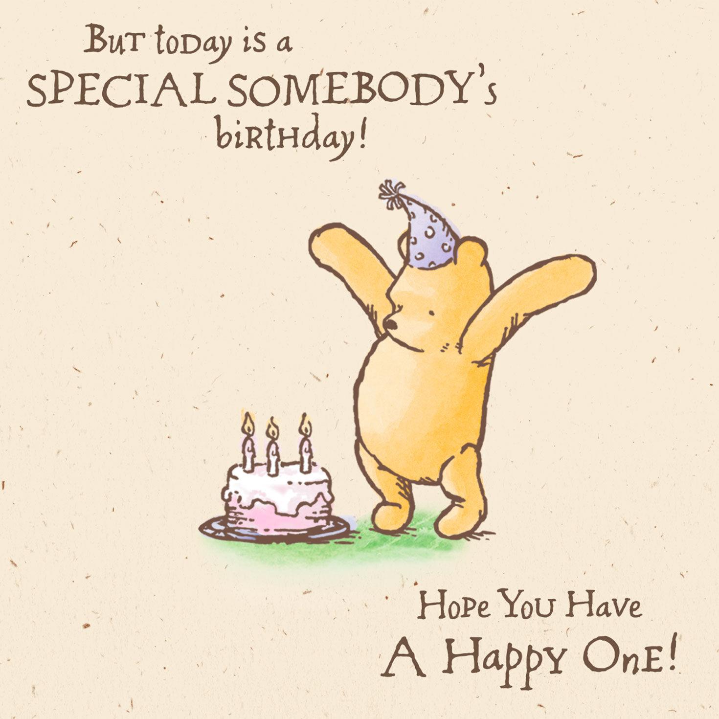 disney winnie the pooh special somebody birthday card greeting