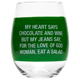 About Face Heart Says Chocolate, Jeans Say Salad Wine Glass, 6 oz., , large
