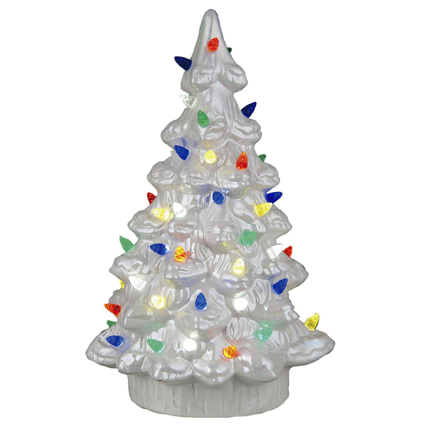 White Ceramic Nostalgic Light-Up Christmas Tree, 11.75\