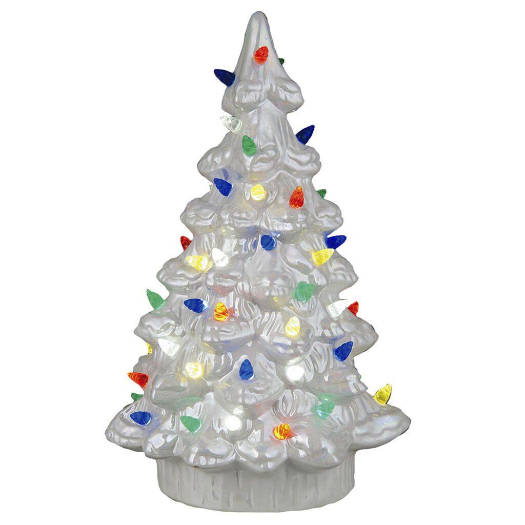 White Ceramic Nostalgic Light-Up Christmas Tree, 11.75\